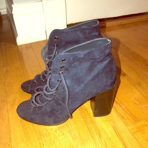 Dark blue suede lace up booties